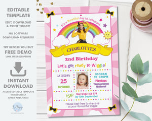 Emma Bow The Wiggles Photo Invitation Editable Template - Digital Printable File - Instant Download - WG1