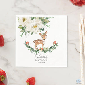 Rustic Ivory Floral Deer Baby Shower Personalised Cocktail Paper Napkins Pack of 50