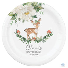 "Load image into Gallery viewer, Rustic Ivory Floral Deer Baby Shower Personalised 7"" Dessert Paper Plates 8pk"