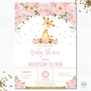 Pink Floral Giraffe Baby Shower Personalised Invitation - Minimum order 8 Invitations - GF1