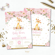 Load image into Gallery viewer, Pink Blush Floral Giraffe Baby Shower Invitation Editable Template - Digital File - Instant Download - GF1