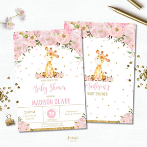 Pink Blush Floral Giraffe Baby Shower Invitation Editable Template - Digital File - Instant Download - GF1