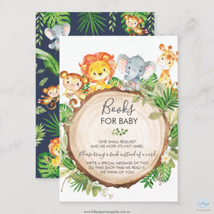 Greenery Cute Jungle Safari Animals Books for Baby Insert Cards (Pack of 100)