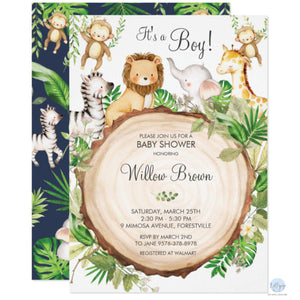 Greenery Jungle Safari Animals Baby Shower Personalised Invitations