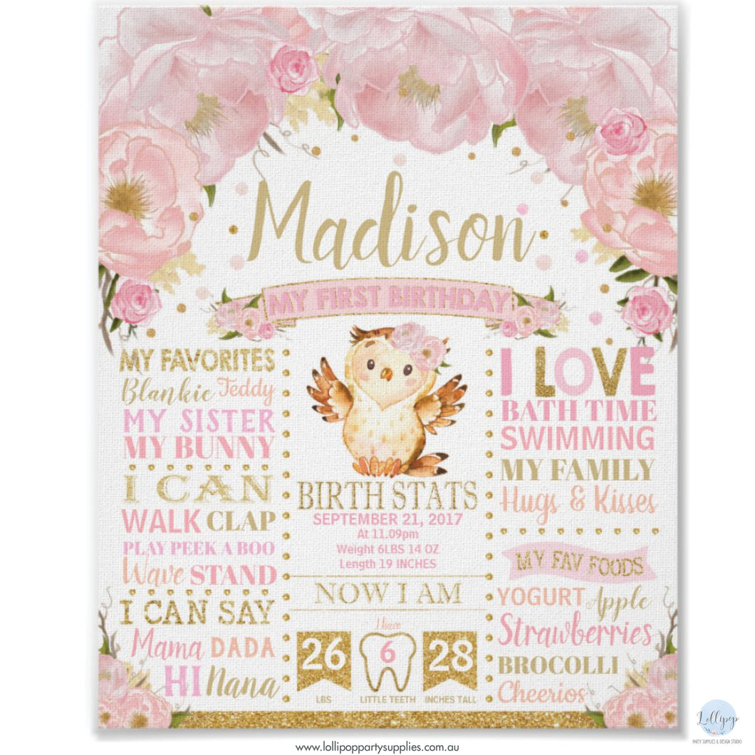 Pink Blush Floral Owl Personalised 1st Birthday Milestone Sign Birth Stats Poster