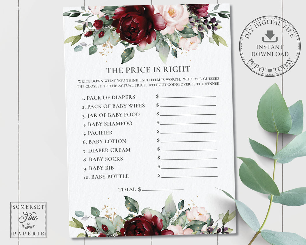 Burgundy Blush Floral Baby Shower the Price is Right Game Activity - Instant Download - Digital Printable File - RB1