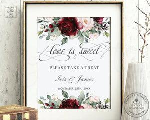 Rustic Burgundy Blush Pink Floral Love is Sweet Please Take a Treat Sign - Wedding Editable Template - Instant Download - RB1
