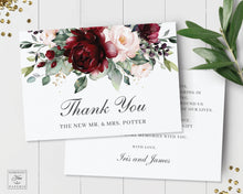 Load image into Gallery viewer, Chic Burgundy Blush Floral Wedding Folded Thank You Card Editable Template - Instant Download - Digital Printable File - RB1