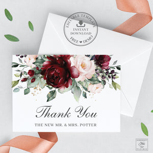 Chic Burgundy Blush Floral Wedding Folded Thank You Card Editable Template - Instant Download - Digital Printable File - RB1