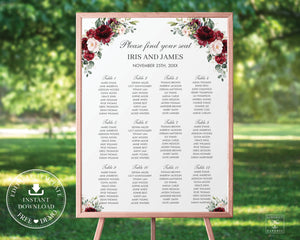 Rustic Burgundy Blush Pink Floral Seating Chart Sign - Wedding Editable Template - Instant Download - RB1