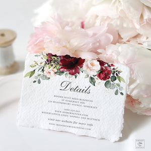 Rustic Burgundy Blush Floral Wedding Invitation Bundle EDITABLE TEMPLATE - Instant Download - Digital Printable File - RB1