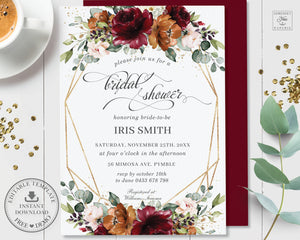 Rustic Burgundy Burnt Orange Blush Floral Bridal Shower Invitation - Editable Template - Digital Printable File - Instant Download - RB3