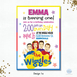 The Wiggles Fun Personalised Invitation -  Minimum order 8 Invitations