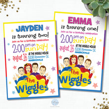 Load image into Gallery viewer, the-wiggles-personalised-invitation-birthday-party-card-stock