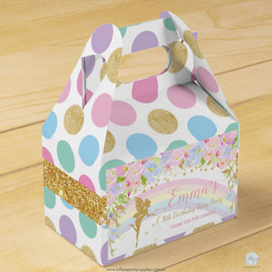 Whimsical Rainbow Fairy Personalised Birthday Baby Shower Favour Box