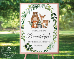 Rustic Greenery Woodland Animals Welcome Sign Baby Shower Birthday - Editable Template - Digital Printable File - Instant Download - WL1