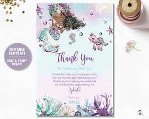 Whimsical Mermaid Brown Skin African Thank You Card Editable Template - Instant Download - Digital Printable File - MT2