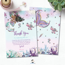 Load image into Gallery viewer, Whimsical Mermaid Brown Skin African Thank You Card Editable Template - Instant Download - Digital Printable File - MT2