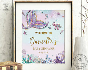 Whimsical Mermaid Welcome Sign Baby Shower Birthday Bridal Shower - Editable Template - Digital Printable File - Instant Download - MT1A