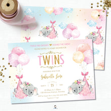 Load image into Gallery viewer, Whimsical Twin Girls Elephant Baby Shower Invitation Editable Template - Instant Download - Digital Printable File - EP3