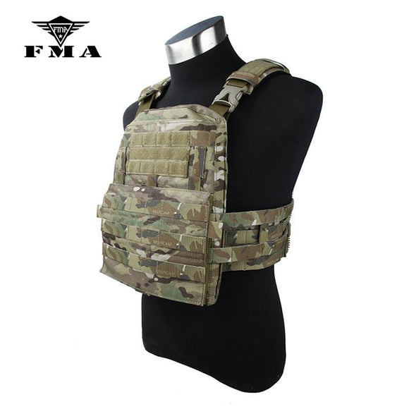 FMA Tactical Vest Multicam 19 Ver Zipper Panel Adaptive Vest Military Molle