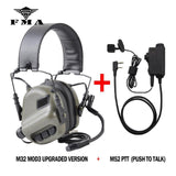 EARMOR M32 MOD3 Tactical Headset & M52 PTT One Set Fit Shooting Noise Canceling
