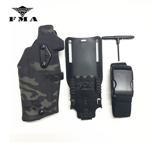 FMA Tactical Glock17/18/19 Pistol Holster X300 Light-Compatible & QL Mount Holster Panel Adapter Leg Shroud Drop