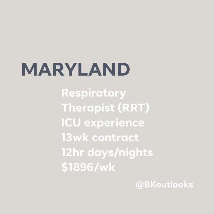 Maryland - Travel RRT (Respiratory Therapist, ICU experience)