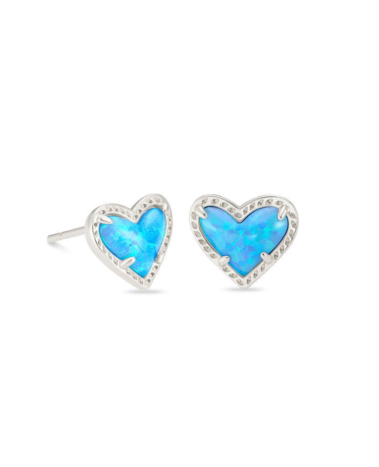 Kendra Scott Ari Heart Silver Stud Earrings In Ocean Opal