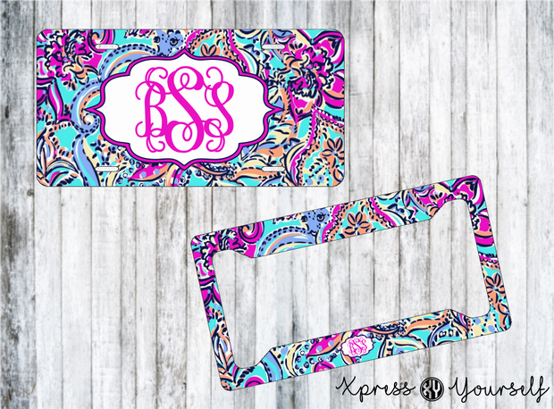 Bait & Switch Lilly Inspired License Plate and Frame Combo