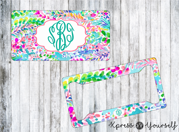 Catch the Wave Lilly Inspired License Plate and Frame Combo