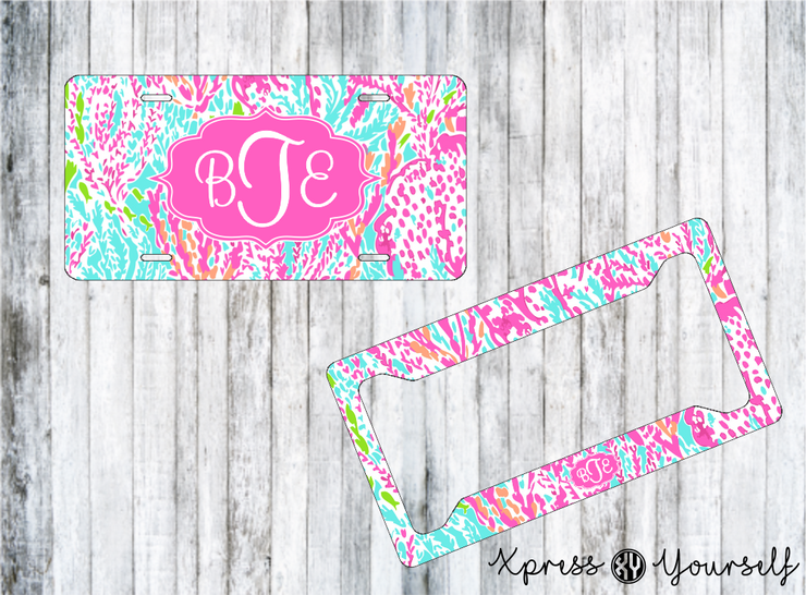 Cha Cha Lilly Inspired License Plate and Frame Combo