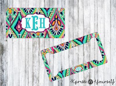 Crown Jewel Lilly Inspired License Plate and Frame Combo