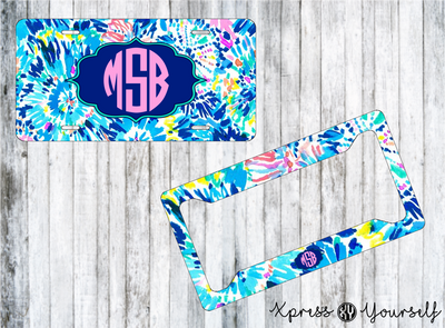 Dive In Lilly Inspired License Plate and Frame Combo