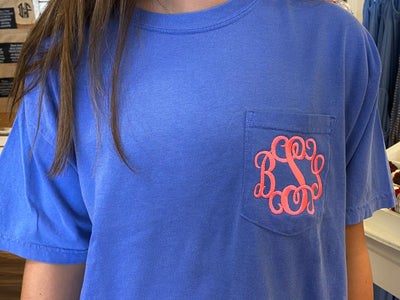 Comfort Colors Monogrammed Short Sleeve Pocket Tee