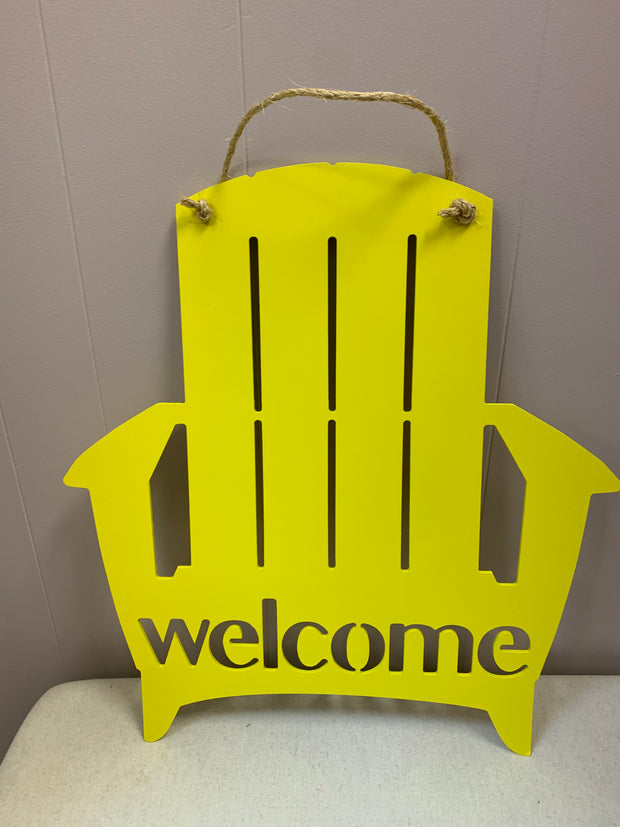Greens Mill Adirondack Chair Welcome Sign, Yellow