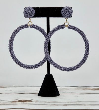 The Monica Beaded Studs- Lavender