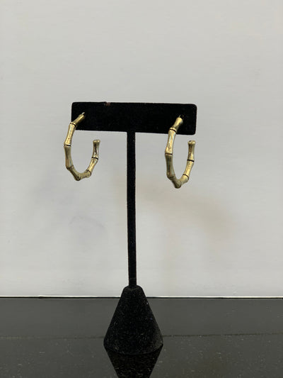 Metal Bamboo Hoops, Gold