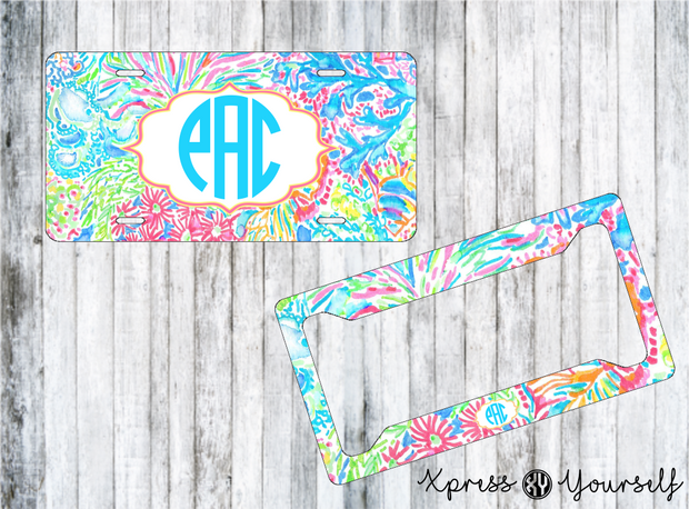 Lover's Coral Lilly Inspired License Plate and Frame Combo