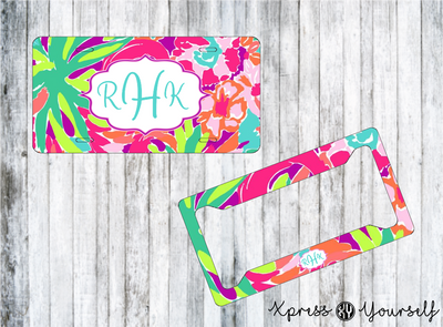 Lulu Lilly Inspired License Plate and Frame Combo