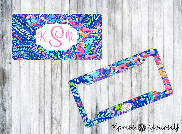 No Prob Llama Lilly Inspired License Plate and Frame Combo