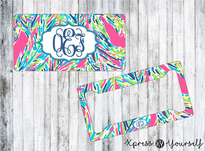 Palm Reader Lilly Inspired License Plate and Frame Combo