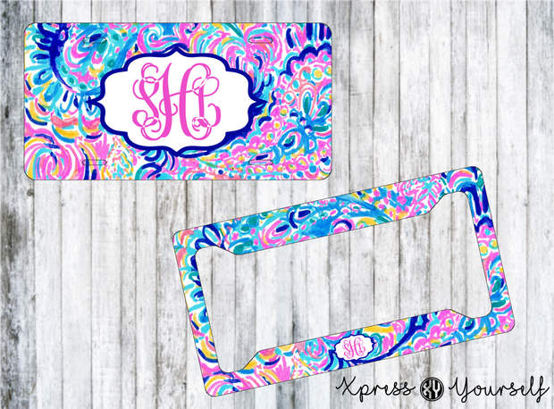 Psychedelic Sunshine Lilly Inspired License Plate and Frame Combo