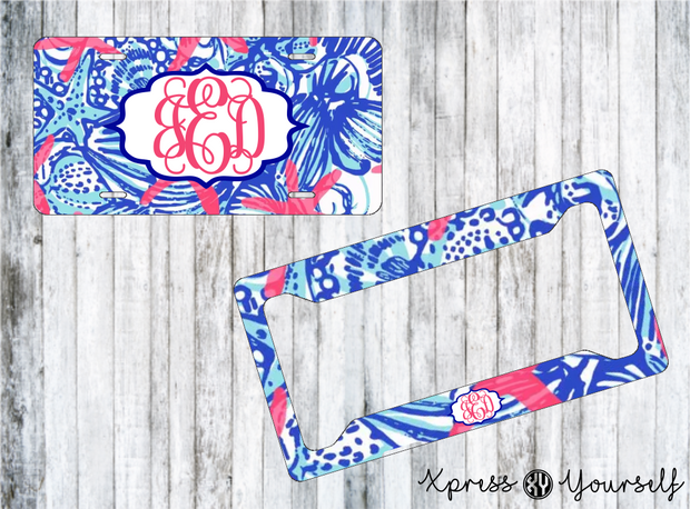 She She Shells Lilly Inspired License Plate and Frame Combo