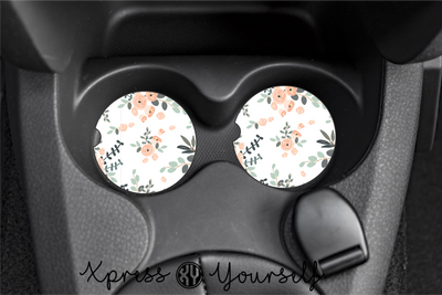 Blush Floral Car Coasters