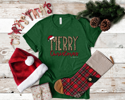 Cheetah Merry Christmas Graphic Tee