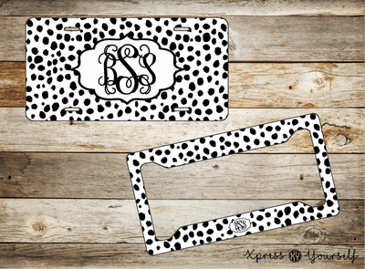 Dalmatian Print License Plate and Frame Combo