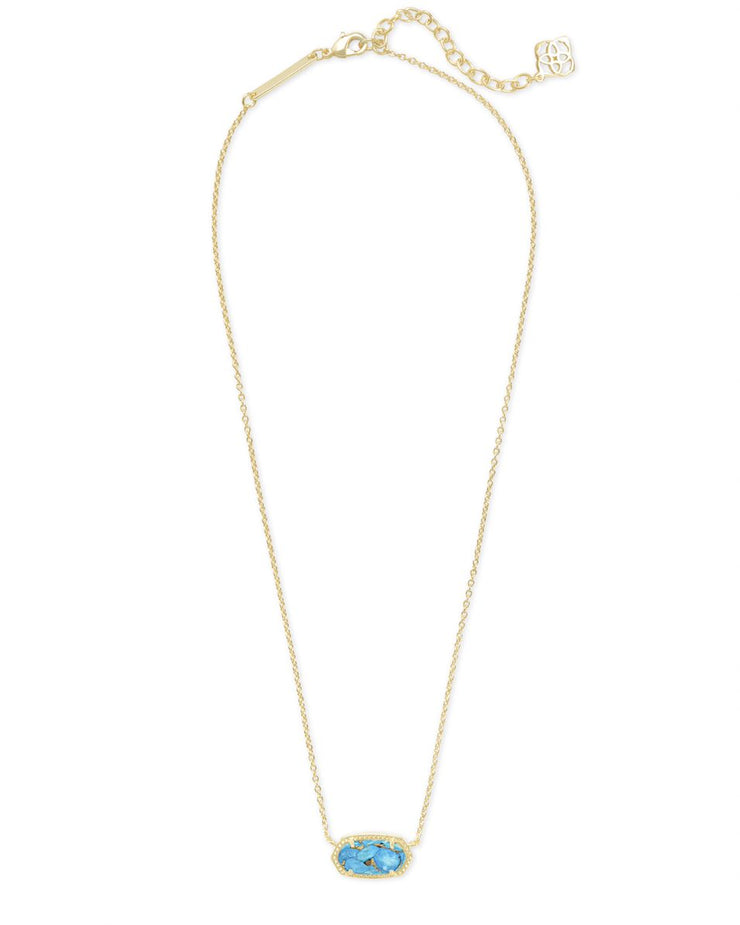 Kendra Scott Elisa Gold Pendant Necklace In Bronze Veined Turquoise Magnesite