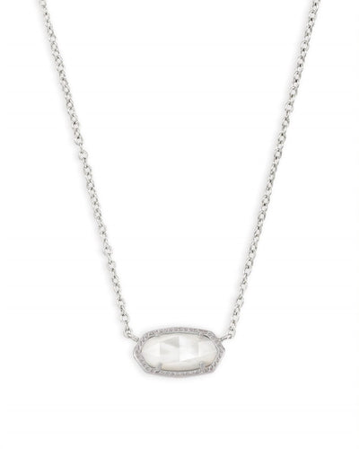 Kendra Scott Elisa Silver Pendant Necklace In Ivory Pearl