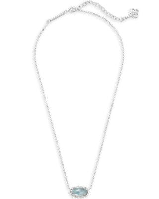 Kendra Scott Elisa Silver Pendant Necklace In Light Blue Illusion